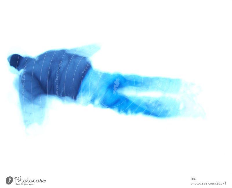 Man White Blue Winter Snow Movement Azure blue