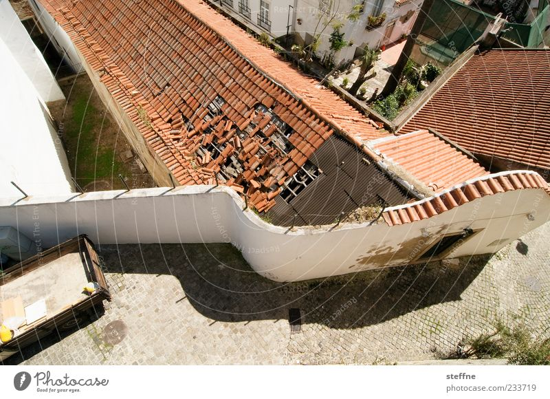 roof damage Sun Summer Beautiful weather Lisbon Portugal Capital city Old town House (Residential Structure) Ruin Wall (barrier) Wall (building) Roof Broken