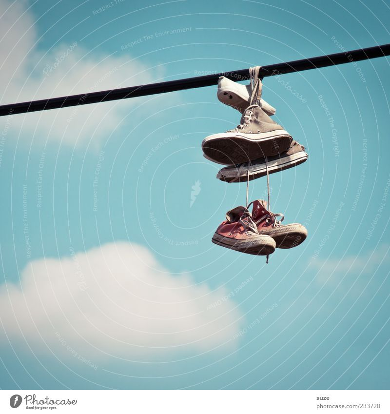 Sky Blue Old Beautiful Joy Clouds Funny Style Friendship Footwear Beautiful weather In pairs Rope Break Friendliness Youth culture
