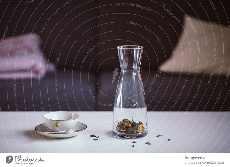 Carafe with loose flower tea and tea cup on the table Lifestyle Style Living or residing Flat (apartment) Fragrance Fresh Healthy Contentment Pure Quality Tea