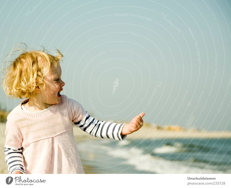 Human being Child Blue Hand Vacation & Travel Girl Summer Ocean Joy Beach Hair and hairstyles Laughter Happy Infancy Blonde Gold