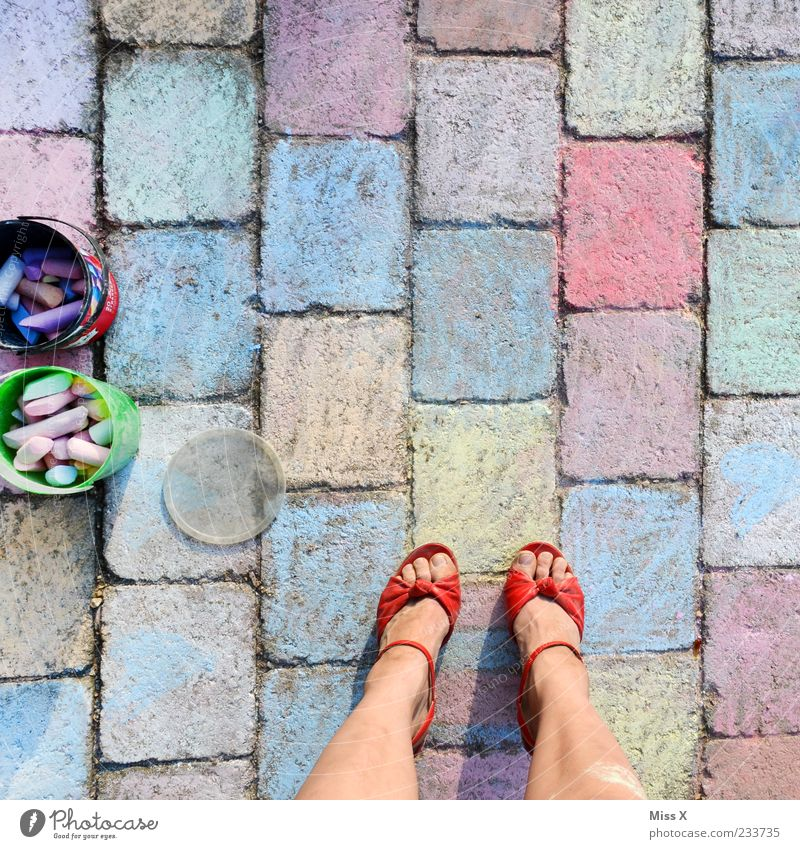 A lot of work III Leisure and hobbies Playing Legs Feet Footwear Draw Multicoloured Infancy Painting (action, artwork) Artist Painter Chalk Paving stone