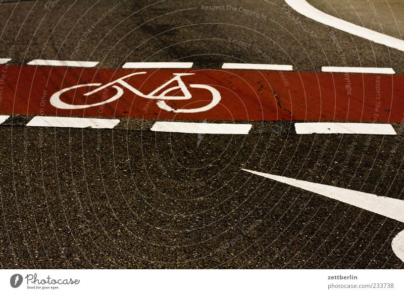 bicycle path Transport Traffic infrastructure Road traffic Driving Cycle path Traffic lane Lane markings Colour photo Subdued colour Exterior shot