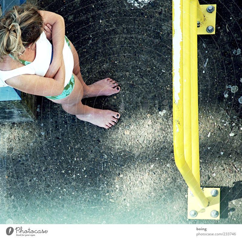 Human being Woman Yellow Feminine Blonde Stand Handrail Long-haired Barefoot Screw Nail polish Interlocked
