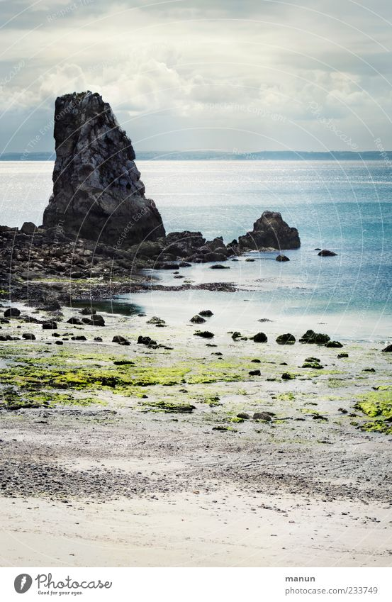 Finis Terrae Far-off places Summer Nature Landscape Elements Sand Air Water Sky Clouds Moss Rock Coast Beach Bay Reef Ocean Brittany Authentic Fantastic