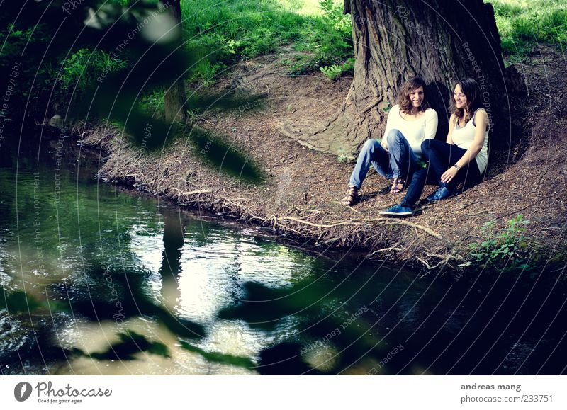 Human being Nature Youth (Young adults) Tree Summer Relaxation To talk Feminine Spring Happy Park Friendship Together Adults