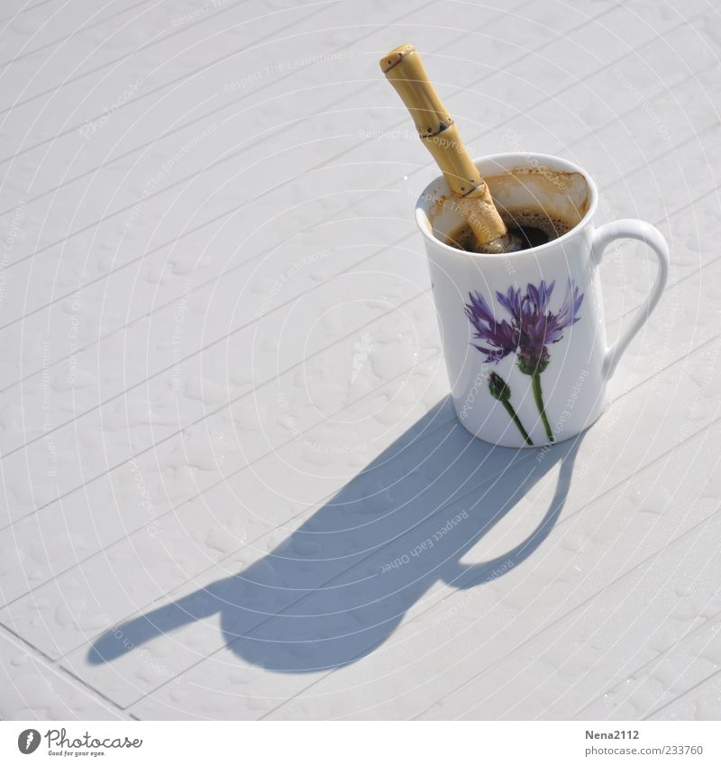 Thundercold coffee Beverage Hot drink Coffee Cup Spoon Table Black Teaspoon Good day! Shadow Rainwater Drop Colour photo Exterior shot Close-up Morning Light