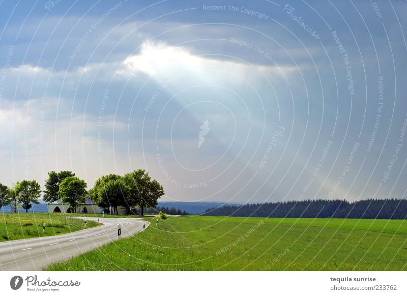 Nature Blue Green Clouds Street Meadow Landscape Gray Weather Field Beautiful weather Traffic infrastructure Bad weather Storm clouds Sunbeam Beam of light
