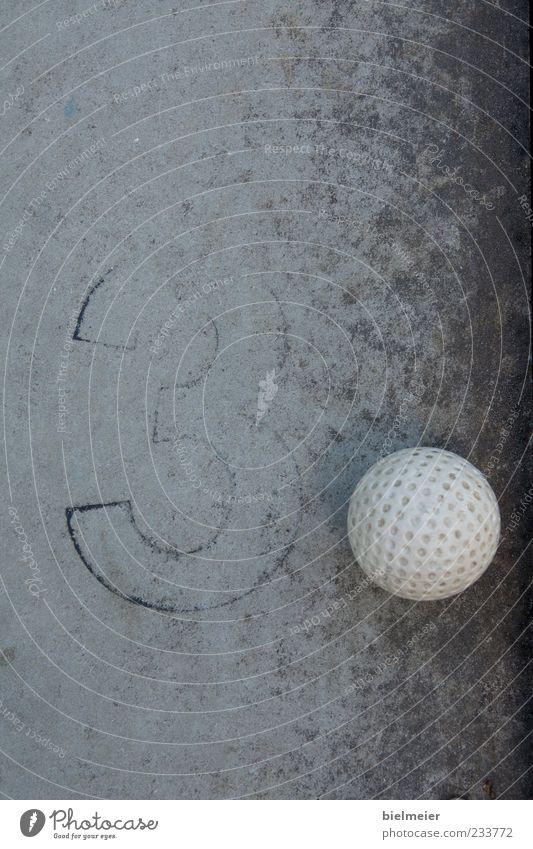 3-POINT Mini golf Stone Concrete Small Gray Black White Golf Golf ball Ball Plastic Sphere Black & white photo Exterior shot Close-up Abstract