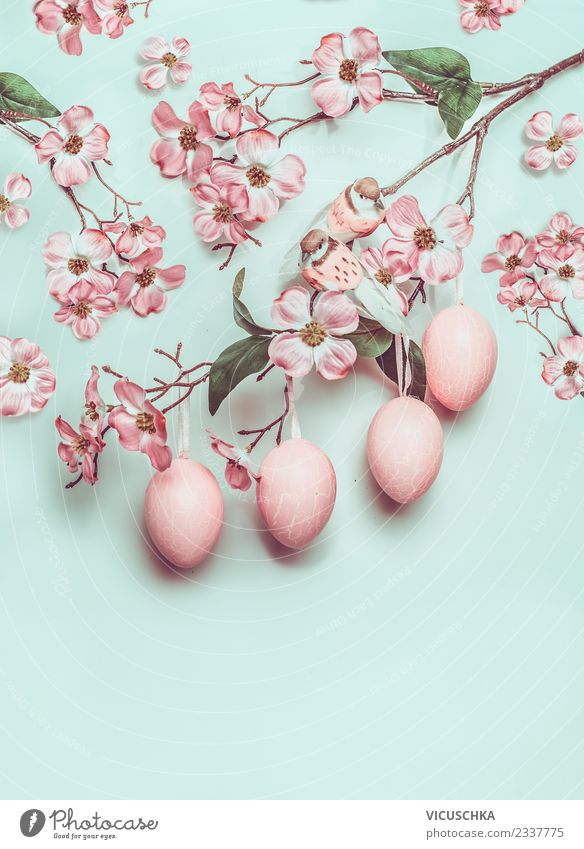 Hanging Easter eggs and pastel pink flowers on turquoise Style Design Joy Decoration Spring Blossom Ornament Blue Pink Turquoise Tradition Conceptual design