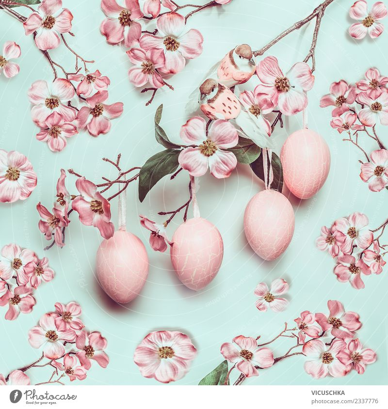 Hanging Easter eggs with pink flowers Style Design Spa Nature Plant Spring Leaf Blossom Decoration Bouquet Ornament Yellow Pink Tradition Background picture