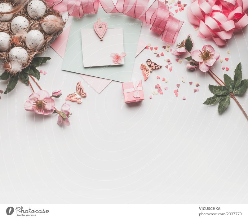 Easter background with pastel pink decoration Style Design Feasts & Celebrations Spring Decoration Bouquet Sign Jump Hip & trendy Pink White Tradition