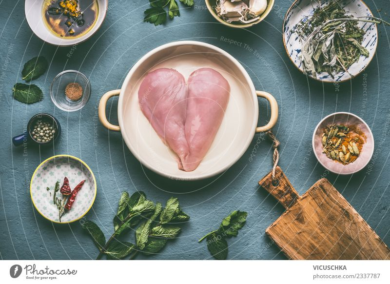 heart-shaped chicken breast with ingredients Food Meat Herbs and spices Nutrition Lunch Dinner Organic produce Diet Bowl Pot Style Design Healthy Eating Table