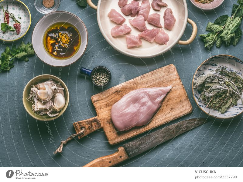 Prepare chicken breast on cutting board with knife Food Meat Nutrition Lunch Dinner Organic produce Diet Crockery Plate Bowl Knives Style Healthy Eating Table
