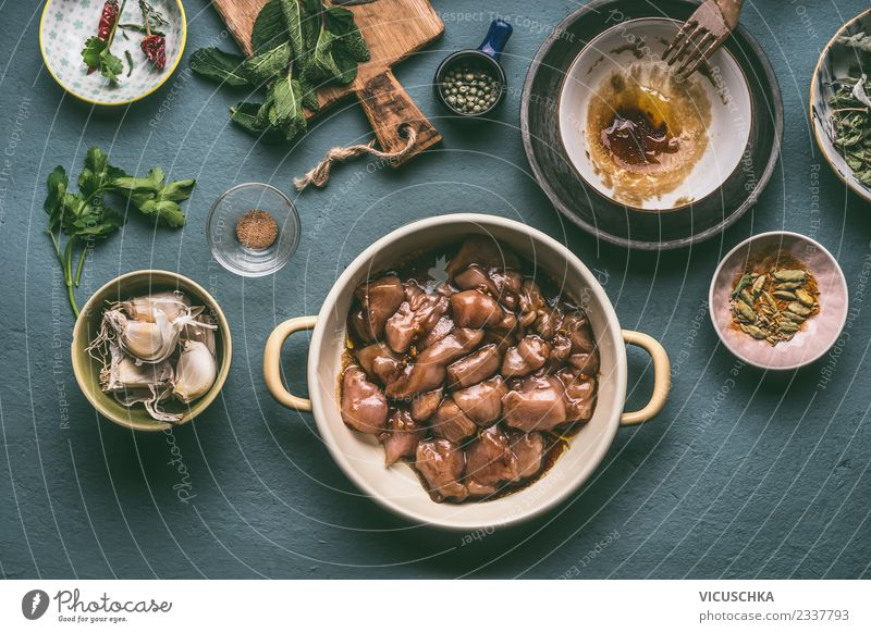 Pot with marinated chicken meat Food Meat Herbs and spices Cooking oil Nutrition Lunch Dinner Organic produce Diet Crockery Bowl Style Design Healthy Eating