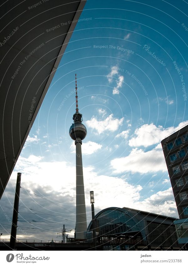 City Berlin Tall Facade Esthetic Tower Thin Long Train station Landmark Berlin TV Tower Capital city Television tower Sightseeing Tourist Attraction