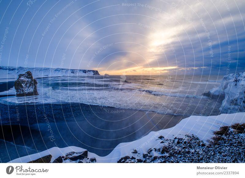 Cape Dyrhólaey, Vik, Iceland Landscape Vacation & Travel Coast Long exposure Clouds Winter Travel photography Snow Cliff Colour photo Exterior shot Deserted