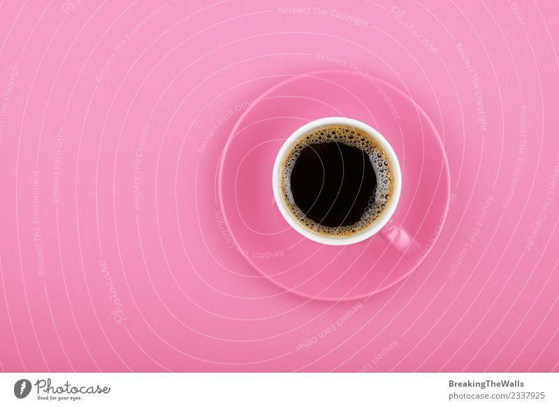Close up black coffee in cup over pink background To have a coffee Beverage Hot drink Coffee Espresso americano Mug Saucer Paper Pink Black Pastel tone
