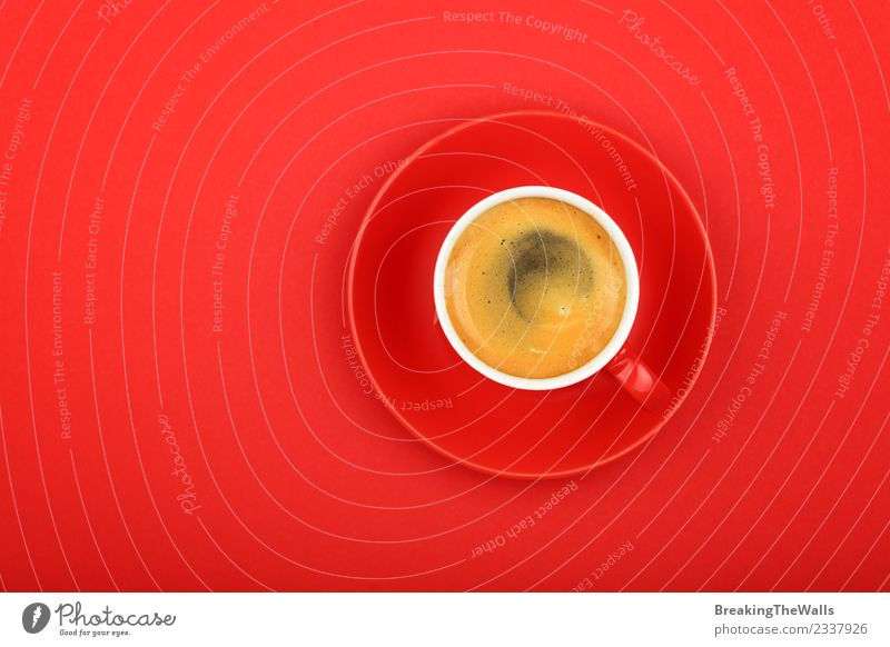 Close up espresso cup over red background Nutrition Breakfast To have a coffee Diet Beverage Drinking Hot drink Coffee Espresso americano black coffee Mug