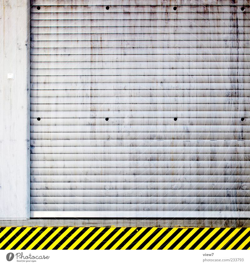 Colour Yellow Wall (building) Architecture Wall (barrier) Building Metal Line Door Dirty Closed Signs and labeling Design Authentic Signage Stripe
