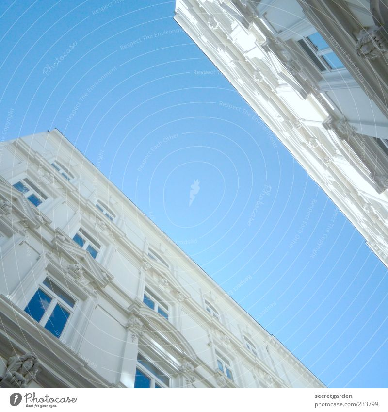 how it feels to be an ant. Sky Cloudless sky Summer Beautiful weather Manmade structures Building Architecture Facade Window Large Blue White Schanzen quarter