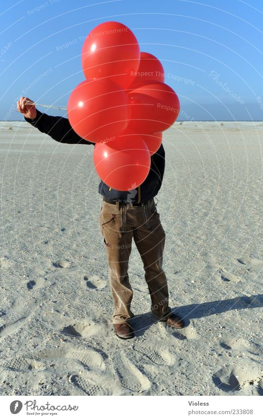 Human being Red Beach Far-off places Sand Flying Illuminate String Balloon To hold on North Sea Beautiful weather Pants Hide Blue sky Sandy beach