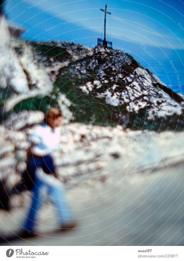 Mountain Rock Hiking Target Climbing Peak Christian cross Crucifix Blue sky Religion and faith Peak cross Veil of cloud