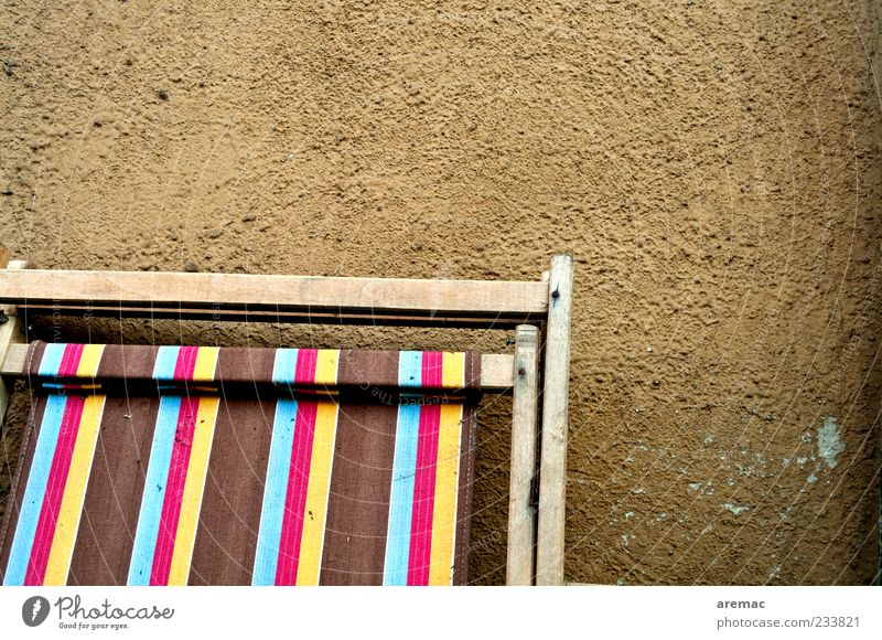 summer sale Relaxation Chair Old Brown Cloth Deckchair Colour photo Exterior shot Close-up Abstract Pattern Structures and shapes Deserted Day Multicoloured