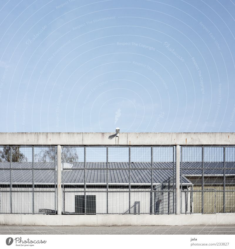 Sky Architecture Building Safety Gloomy Factory Manmade structures Fence Barrier Grating Cloudless sky Blue sky Industrial plant Surveillance camera