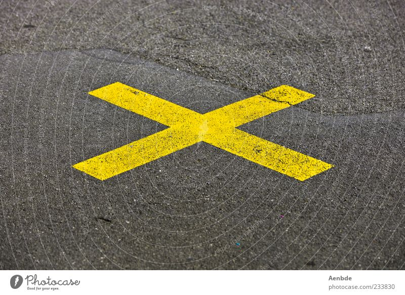 X Street Crossroads Road junction Aggression Crucifix Asphalt Warn Yellow Central Bans Multicoloured Exterior shot Deserted Copy Space top Copy Space bottom