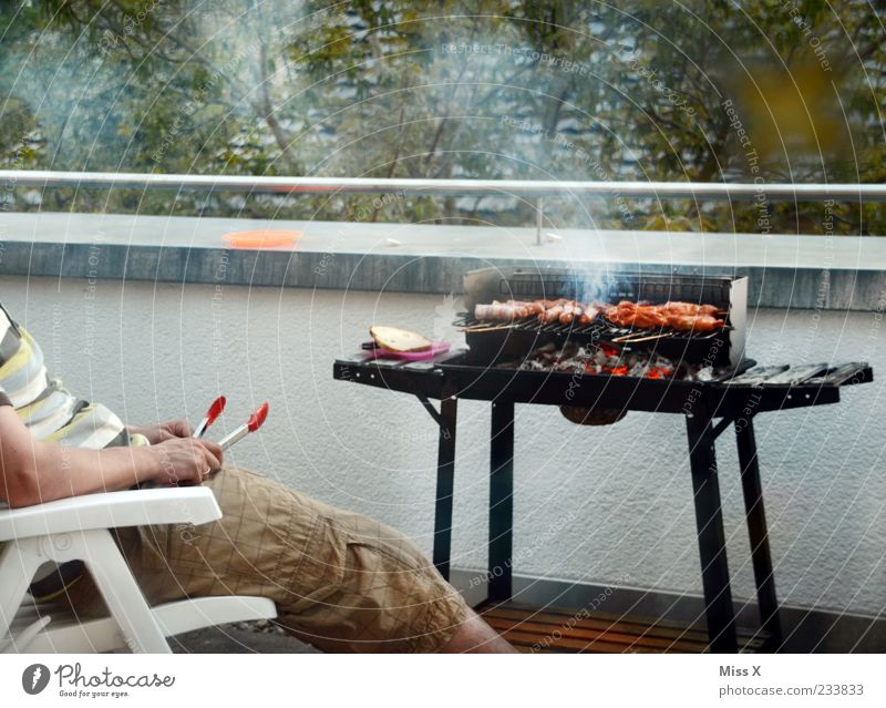 Human being Man Summer Loneliness Calm Adults Nutrition Food Legs Sit Wait Masculine Hot Appetite Balcony Smoke
