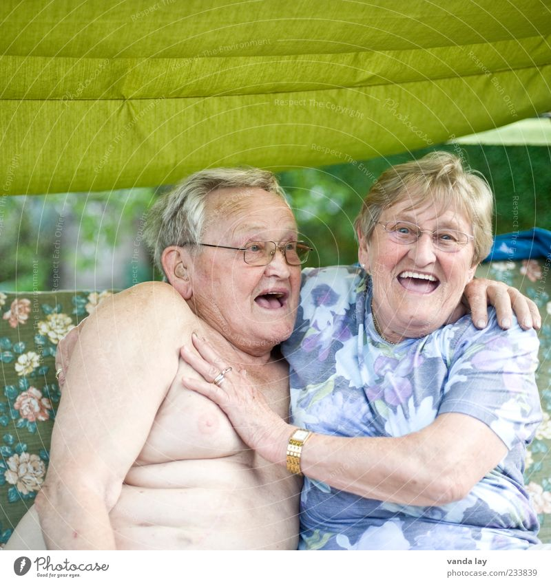 Human being Woman Man Old Joy Adults Love Senior citizen Laughter Funny Friendship Healthy Together Masculine Grandmother Chest