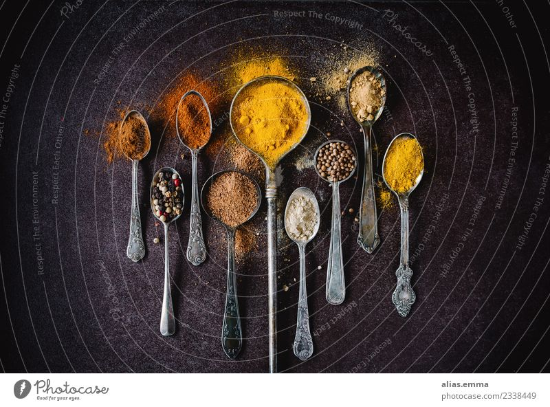 Farbrausch - Colourful spices Herbs and spices Exotic Multicoloured Aromatic Cinnamon Pepper Ginger Cardamom Curry powder Curcuma Coriander Sense of taste Spicy