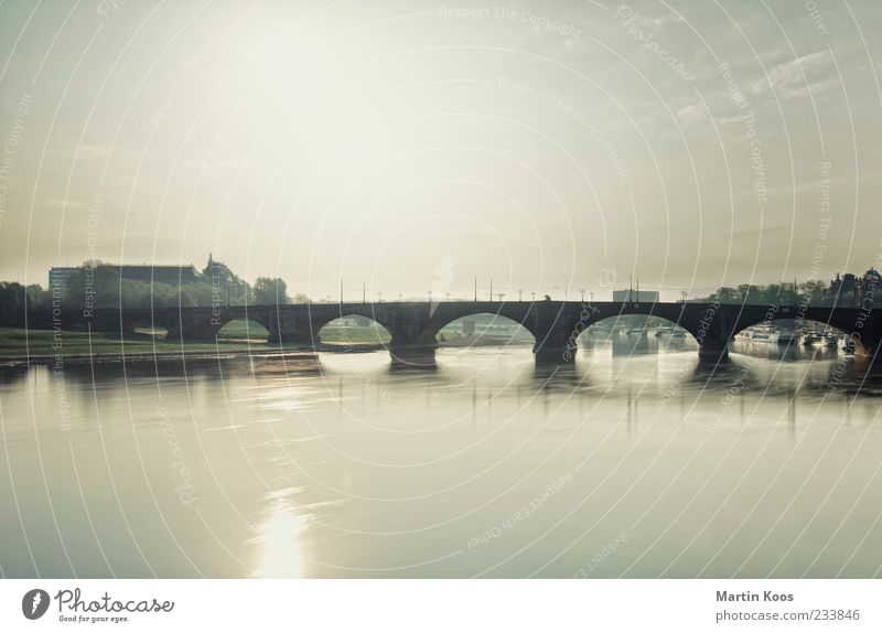 Life Architecture Lanes & trails Contentment Elegant Bridge River Idyll Dresden Past Mobility River bank Surface of water Arch Saxony Elbe