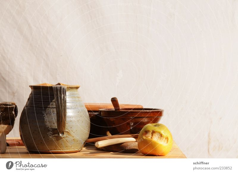 Nutrition Wall (building) Food Fruit Authentic Apple Crockery Still Life Bowl Mug Cutlery Jug Picturesque Carry handle Water jug Wooden spoon