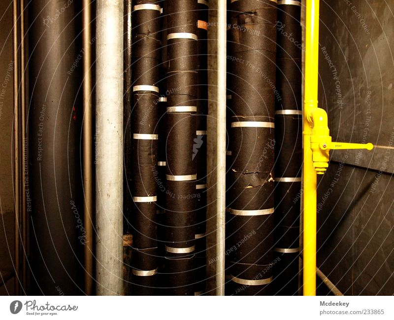 Vertical trade Conduit Pipe Technology Industry Firm Large Brown Yellow Gray Black Silver White Line Lever Steel Insulation Varnished Crack & Rip & Tear