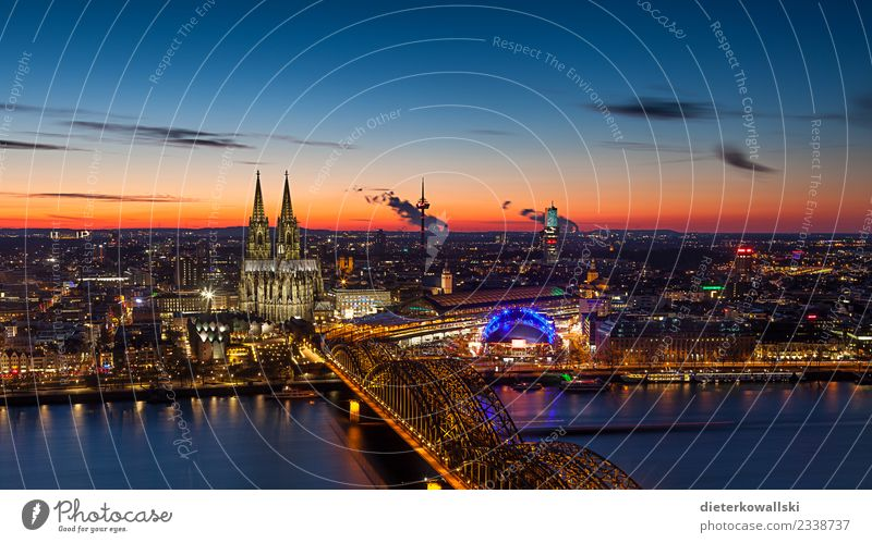 Skyline Cologne Town Downtown Old town Church Dome Bridge Tourist Attraction Landmark Monument Beautiful Moody Home country Native Dusk Cologne Cathedral Rhine