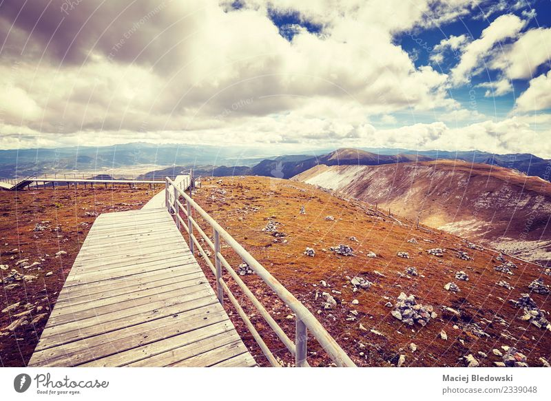 Scenic mountain landscape with a wooden walkway. Vacation & Travel Tourism Trip Adventure Far-off places Freedom Sightseeing Mountain Nature Landscape Sky