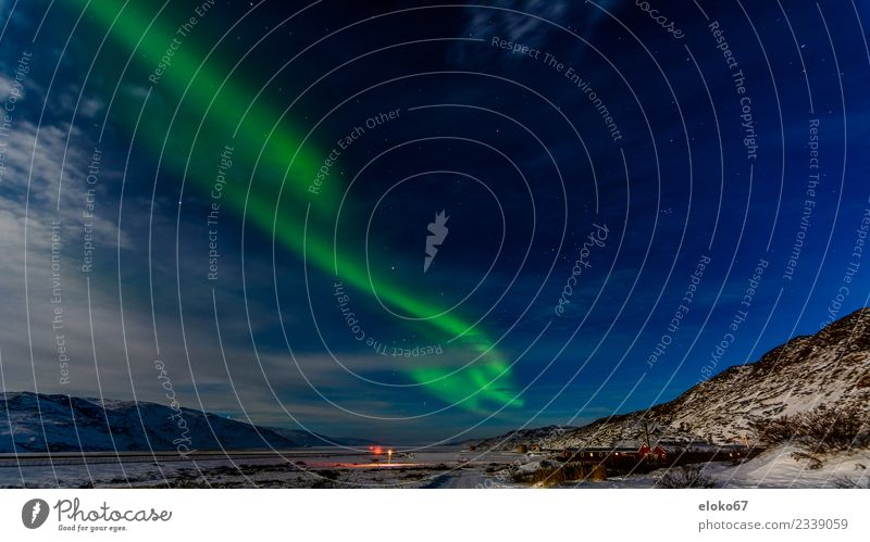 Northern lights over Kangerlussuaq Greenland Aurora Borealis kangerlussuaq Airport Winter Night Cold Dark Full  moon Nature