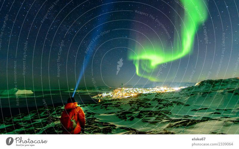 Northern Lights Observation in Greenland Nature Aurora Borealis Emotions Moody Jakobshavn headlamp Iceberg Disko Bay The Arctic Colour photo Multicoloured