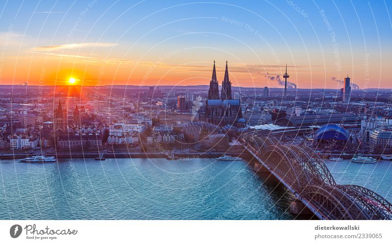 Skyline Cologne Architecture Town Downtown Old town Church Dome Train station Tourist Attraction Landmark Monument Beautiful Vantage point Rhine