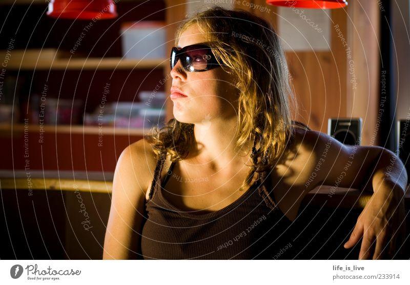 Beautiful Face Feminine Emotions Blonde Sit Skin Wait Lifestyle Cool (slang) Meditative Young woman Sunglasses Counter Woman