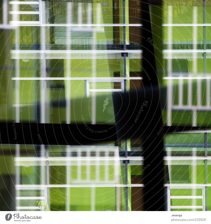 focus Design Architecture Facade Window Glass Line Exceptional Hip & trendy Uniqueness Crazy Green Bizarre Chaos Perspective Surrealism Double exposure