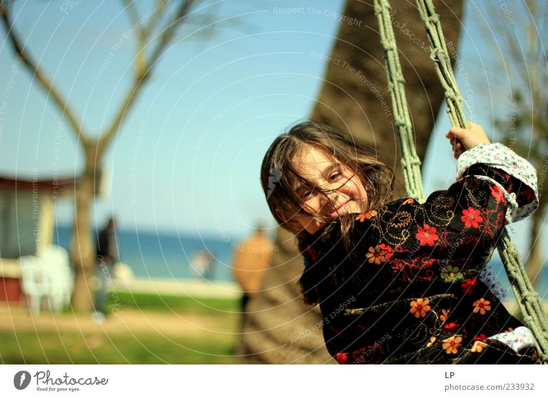 Swinging smile Human being Child Youth (Young adults) Beautiful Young woman Relaxation Loneliness Calm Girl Face Emotions Playing Happy Contentment Fresh
