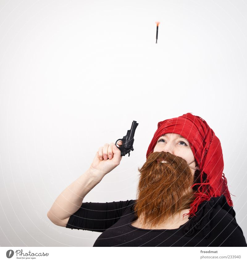 Human being Woman Man Adults Laughter Funny Feasts & Celebrations Masculine Carnival Facial hair Whimsical Carnival costume Weapon Handgun Shot Cliche