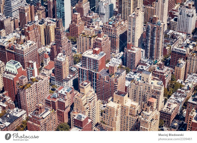 Vintage toned aerial picture of New York City, USA Living or residing Flat (apartment) House (Residential Structure) Town Downtown Overpopulated High-rise