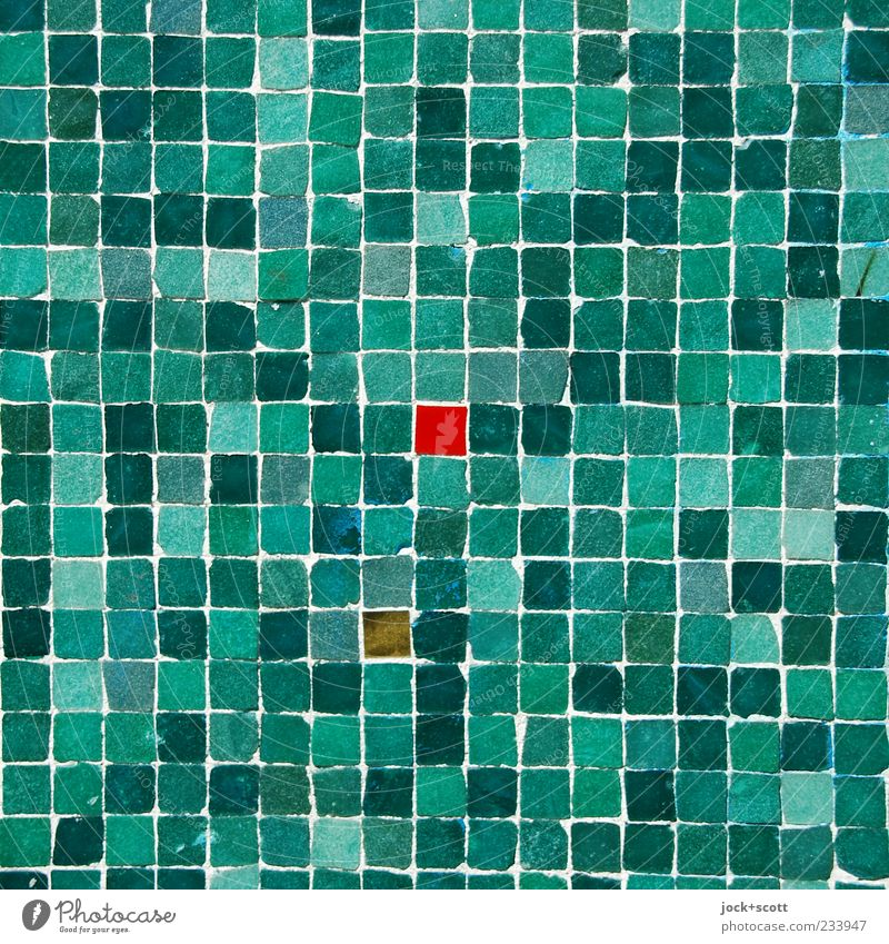 little red square Arts and crafts Street art Wall (building) Ornament Line Sharp-edged Small Many green Red Moody Center point Mosaic Square Play of colours