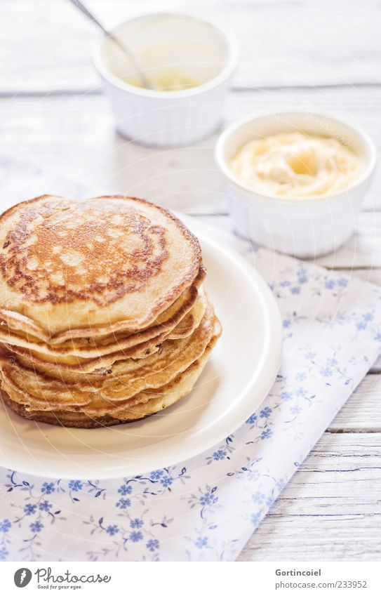 Good morning! Good morning! Nutrition Breakfast Plate Bowl Delicious Sweet Pancake Apple puree Breakfast table Crêpe Food photograph Colour photo Interior shot