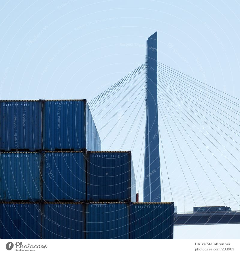 Blue Metal Tall Arrangement Lie Rope Large Transport Hamburg Bridge Industry Logistics Manmade structures Harbour Truck Traffic infrastructure