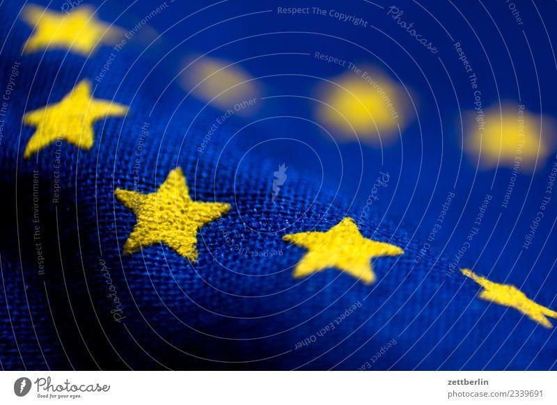 European flag European parliament Flag Cloth Landmark Star (Symbol) Alliance Wrinkles Bulge Waves Yellow Blue Copy Space Deserted